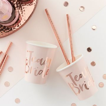 Team Bride Pink & Rose Gold Paper Cups - pack of 8